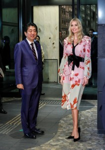 Ivanka Trump (R), Advisor to US President Donald Trump, is welcomed by Japanese Prime Minister Shinzo Abe for a dinner at a restaurant in Tokyo, Japan, 3 November 2017. REUTERS/Kimimasa Mayama/Pool