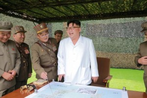 North Korean leader Kim Jong Un provides field guidance during a fire drill of ballistic rockets by Hwasong artillery units of the KPA Strategic Force, in this undated photo released by North Korea's Korean Central News Agency (KCNA) in Pyongyang September 6, 2016. KCNA/Files via Reuters
