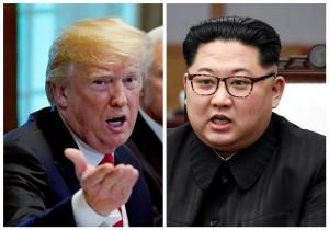 6月4日、米ホワイトハウス12日に予定される米朝首脳会談の開始時間をシンガポール時間午前9時に暫定的に設定したと発表した。写真は北朝鮮の金正恩氏(右)とトランプ米大統領。それぞれ4月27日に板門店、5月17日にワシントンで撮影(2018年 ロイター/Kevin Lamarque and Korea Summit Press Pool/File Photos)